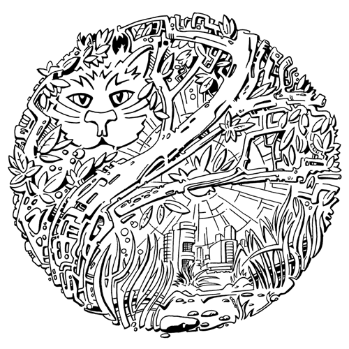 pencil amnd ink graphics — forest cat