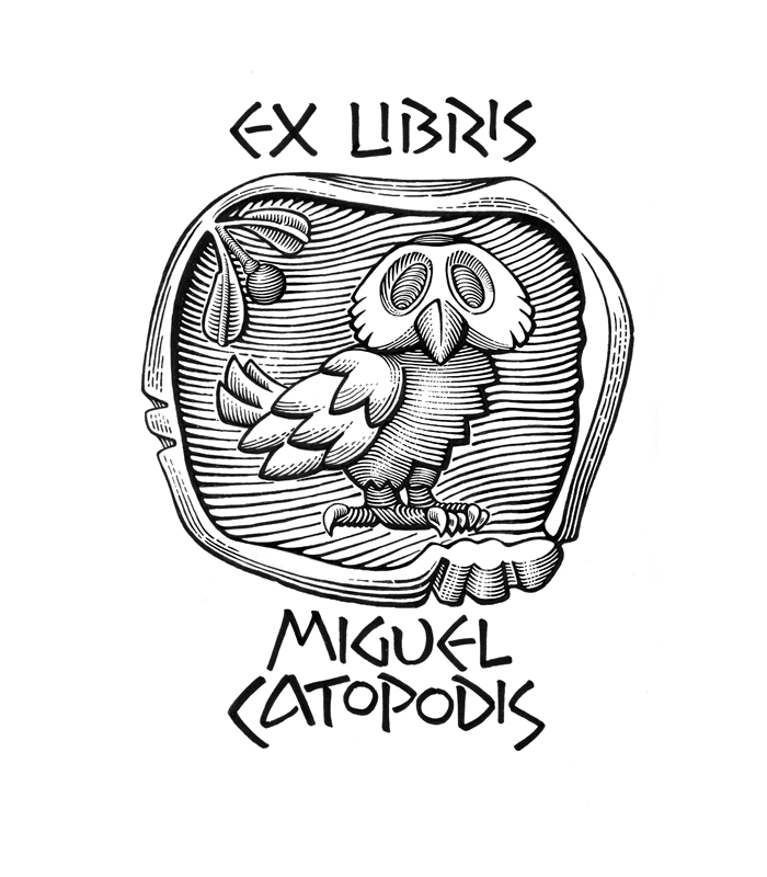 Ex libris sign, greek coin, owl